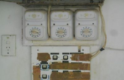 Sub/board multi-switch is broken. Switches panel used celotape to close which is unsafe. To replace with a safer switch. Feed wire from switchboard had a direct contact with metal part of switchboard and the switch panel